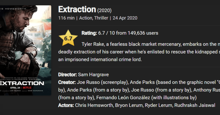Download Extraction (2020) Dual Audio (Hindi-English) 480p [400MB] || 720p [1GB] || 1080p [4GB]