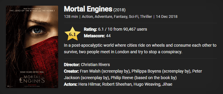 Download Mortal Engines (2018) {Hindi-English} Bluray 480p [350MB] || 720p [1GB] || 1080p [3GB]